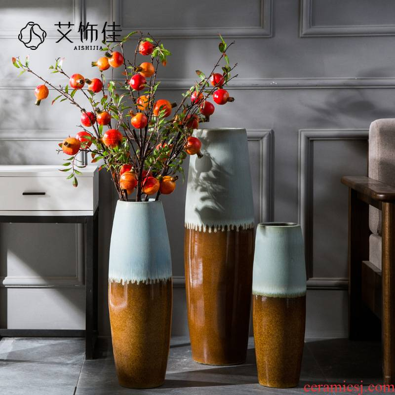 New Chinese style ceramic floor tall hotel club vase glaze up with dried flowers flower arrangement sitting room adornment is placed
