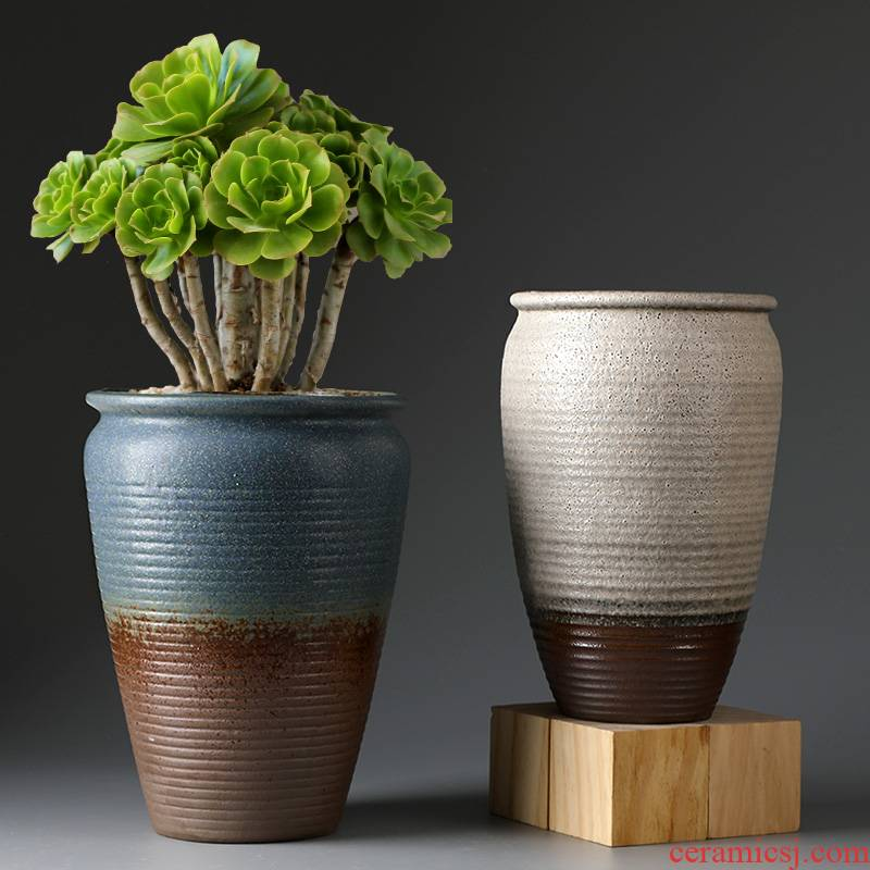 Fleshy flower pot large old running high creative clay coarse pottery basin of large diameter zhuang zi the plants breathe freely ceramic flower pot