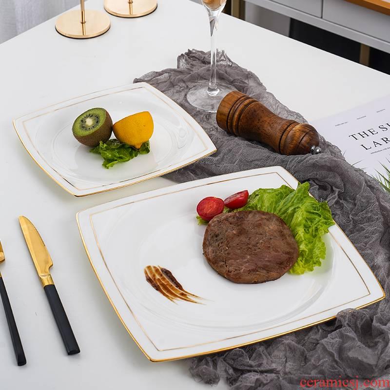 Jingdezhen porcelain dish square plate European - style beefsteak ipads plate of household food dish up phnom penh flat
