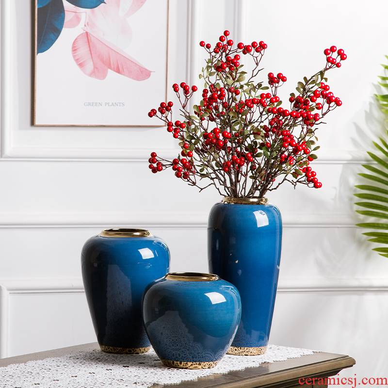 European ceramic vase simulation flower arranging furnishing articles I and contracted home sitting room TV ark adornment porch decoration