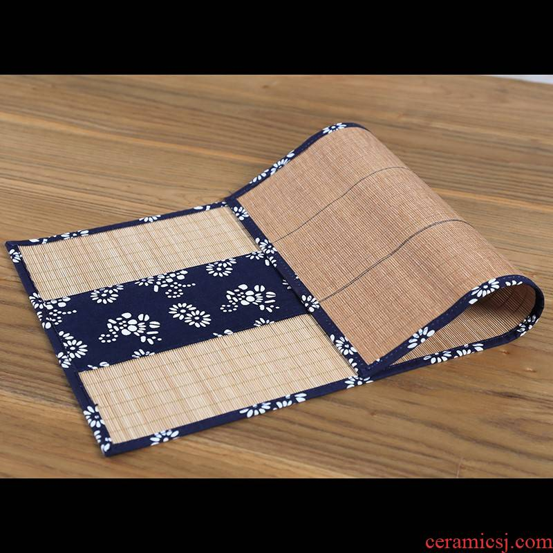 Chinese wind bamboo mat 's ancient zen tea cloth table flag tea cotton cloth size waterproof tea table mat