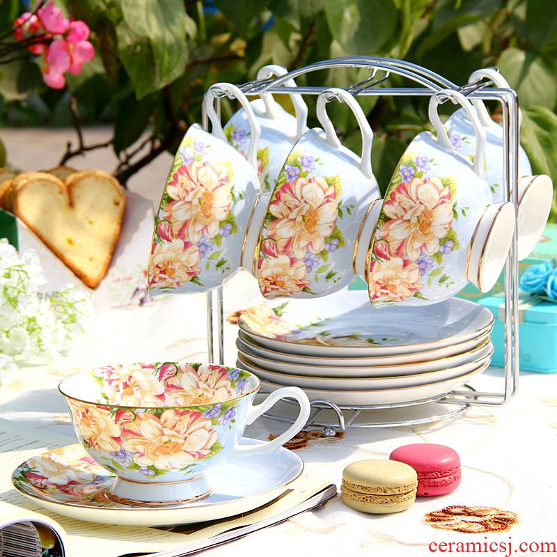 Coffee cup set ceramic European tea English afternoon tea tea set red cup dish 6 cup with light shelf of key-2 luxury