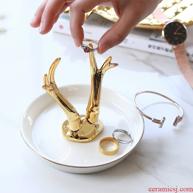 The Jingdezhen ceramic golden fawn/foreign trade tail single unicorn jewellery set/ring of snack tray