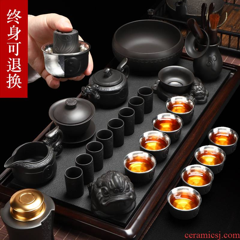 Recreational product manual pure silver 999 purple sand tea sets xi shi pot of tea cups of a complete set of household kung fu tea set