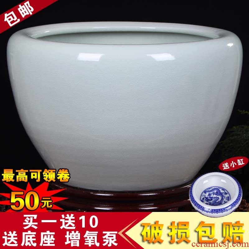 Jingdezhen ceramic aquarium turtle cylinder basin of water lily lotus goldfish bowl lotus cylinder oversized tank sitting room