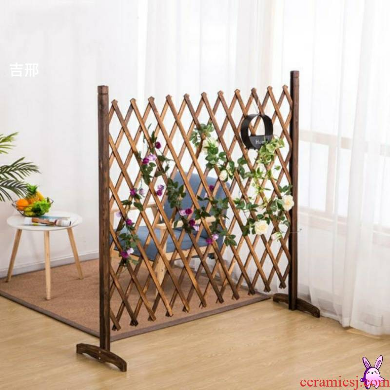 Xi teahouse vine fence. Flower vine shelf 【 carbonized wood WeiDang home stay put landing deck wood