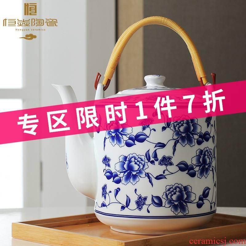 Jingdezhen porcelain ceramic teapot high - capacity cool large blue and white porcelain kettle cold girder teapot household kettle