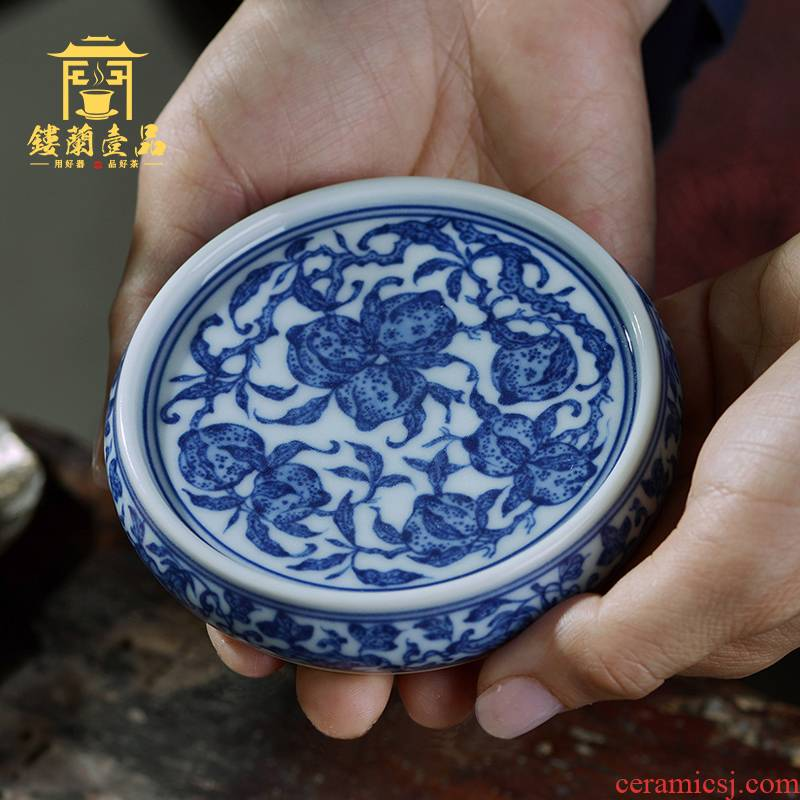 Jingdezhen ceramic checking blue and white lid cover buy tea accessories lid hand - made lid holder frame paperweight