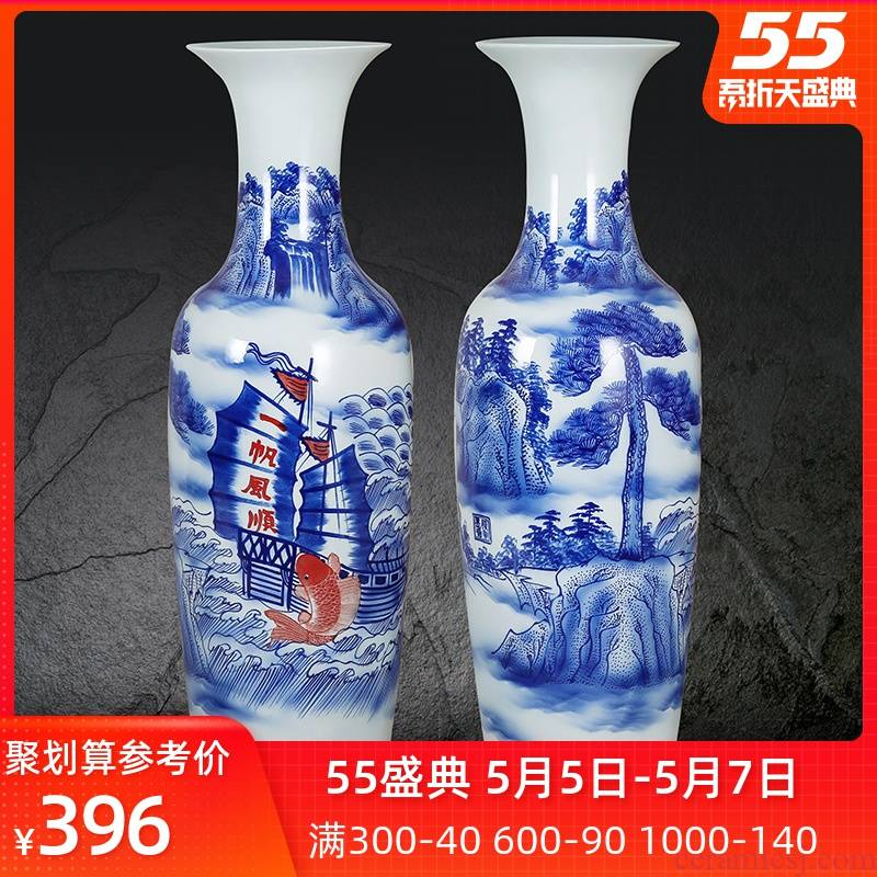 Jingdezhen ceramic hand - made a smooth landing big blue and white porcelain vase sitting room adornment is placed large adornment