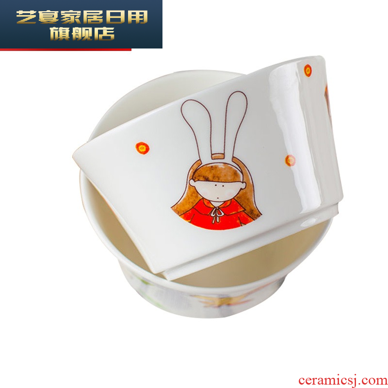 Cutlery set dishes of jingdezhen ceramics creative cartoon express Chinese style household use chopsticks dishes suit
