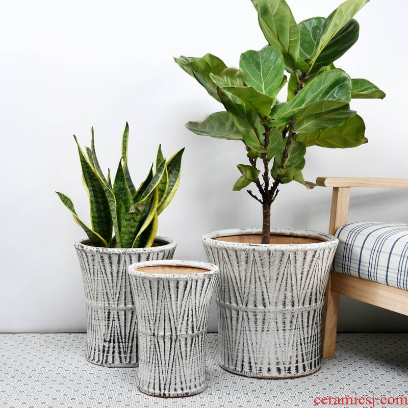 Extra large courtyard planting trees of large ceramic large - diameter pot sitting room balcony flowerpot pack mail check inventory wholesale