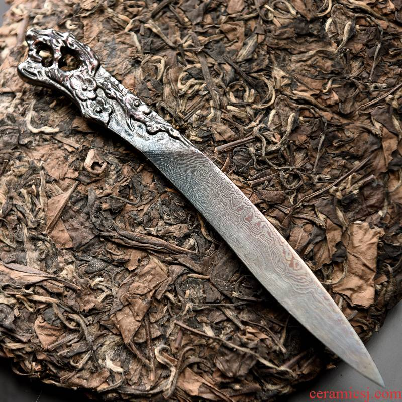 Longquan manual forging pattern steel knife puer tea cake pry ChaZhen black tea tea tea tools cone tea accessories