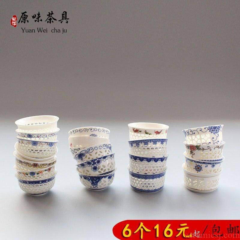 Garden and exquisite thin body of blue and white porcelain teacup hollow out pervious to light of the next single cup of jingdezhen ceramic kung fu tea set a character