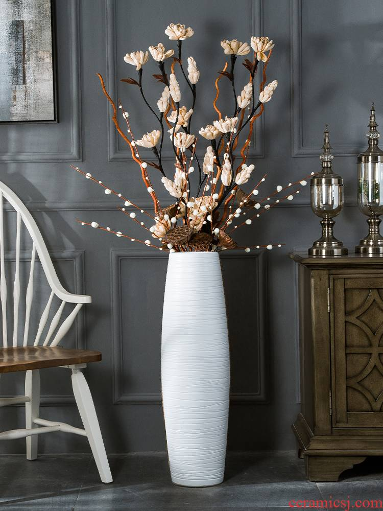 Nordic white ground hotel large vases, I and contracted sitting room simulation flowers, dried flowers, flower arrangement dining - room ceramics furnishing articles