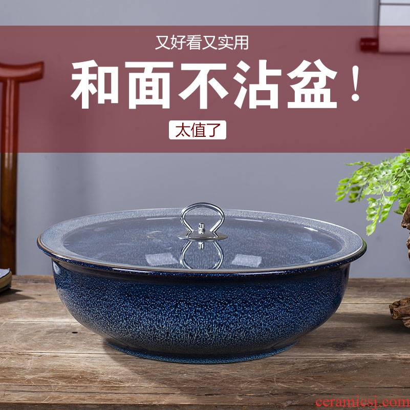 Jingdezhen ceramics and household tuba basin that wash a face with cover porcelain basin to thicken deepen xiancai basins pickled fish soup bowl