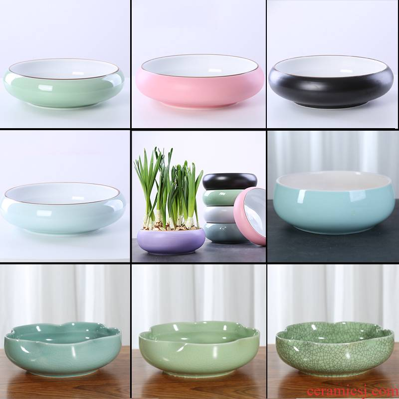 Copper grass flower pot daffodil water lily bowl lotus without special offer a clearance hole money ceramics water raise large hydroponic, fleshy