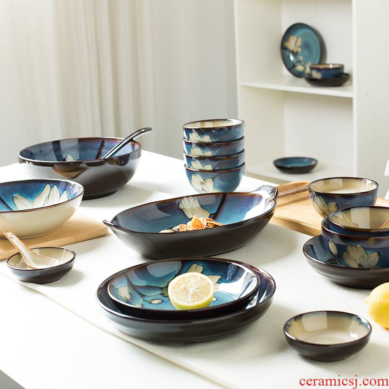 Chinese wind color ceramic bowl bowl with lovely oven dedicated 6/8/9 inch rainbow such as bowl soup bowl dish dish dish