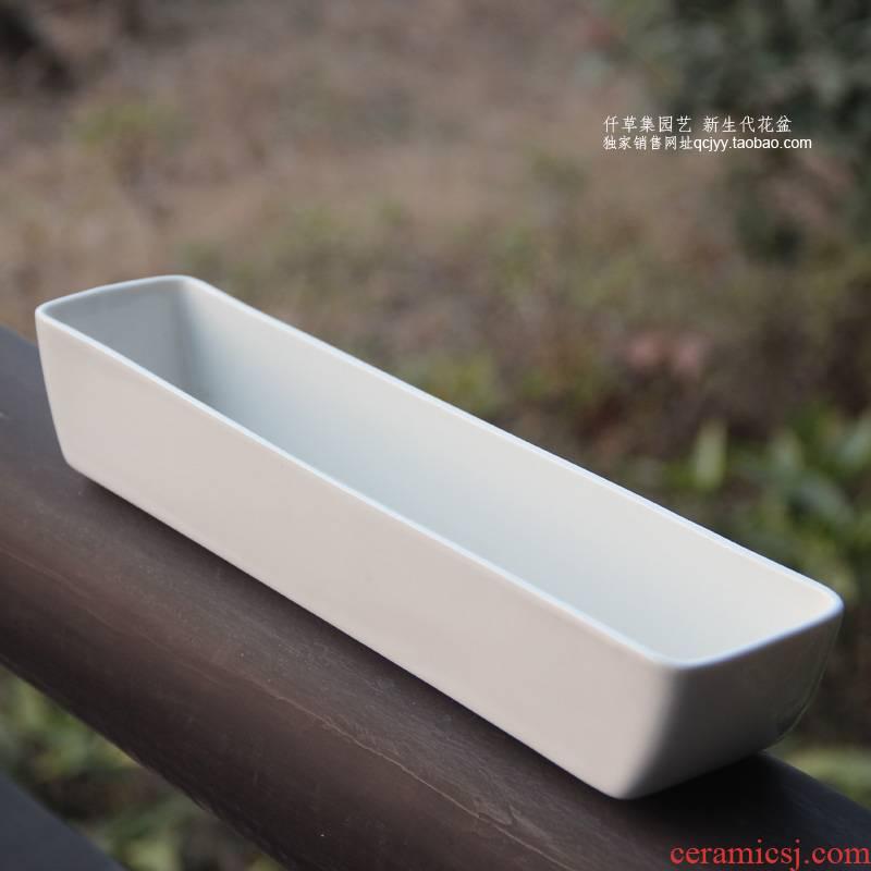 Garden flowerpot more meat ceramic rectangular white contracted mini creative interior balcony desktop by hand