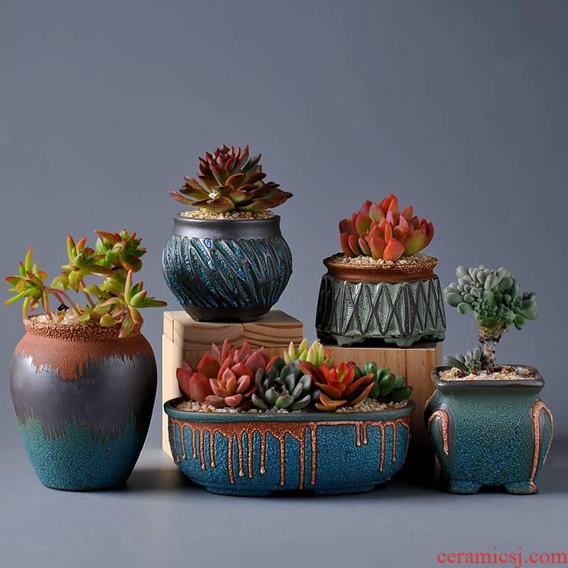 Platinum jade fleshy flower pot set combination of large diameter creative move meat meat the plants potted retro large - sized ceramic POTS