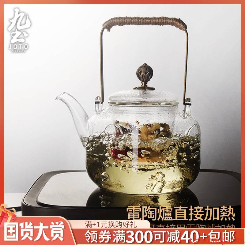 About Nine clay pot of boiled tea glass hammer half filter TaoLu teapot kung fu tea, heat - resistant pot of boiling water to the girder