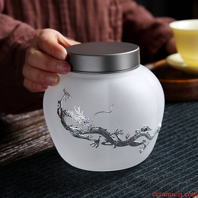Glass tea pot large seal pot receive grain storage tank transparent small silver POTS of tea boxes
