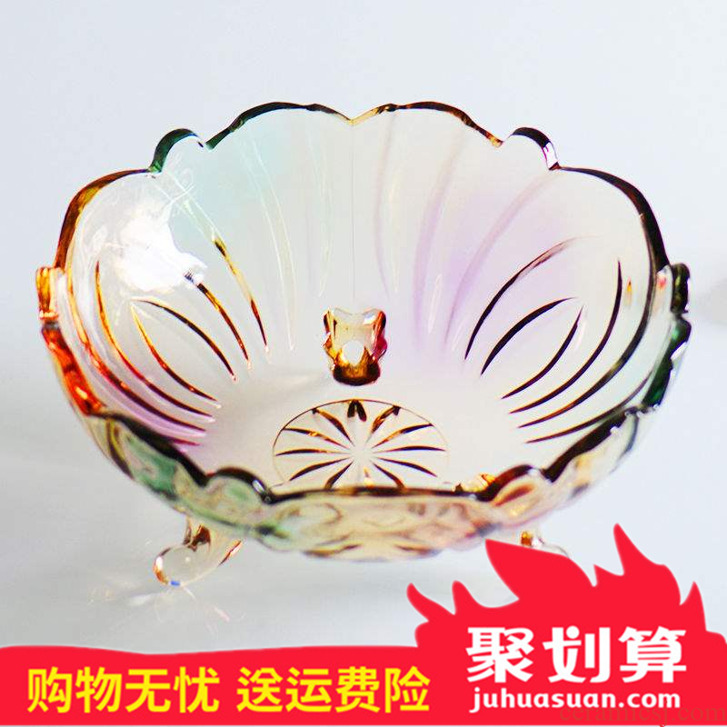 Ou crystal glass fruit bowl modern creative home sitting room tea table candy bowl big salad dried fruit basket