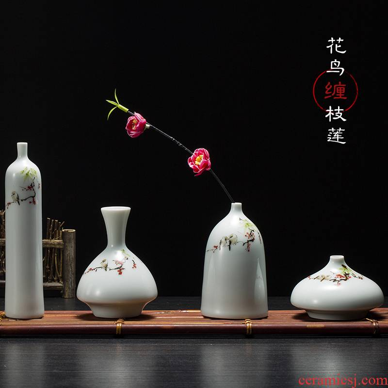 New Chinese style hand - made ceramic vase furnishing articles flower arranging creative decoration accessories I and contracted sitting room small and pure and fresh flowers