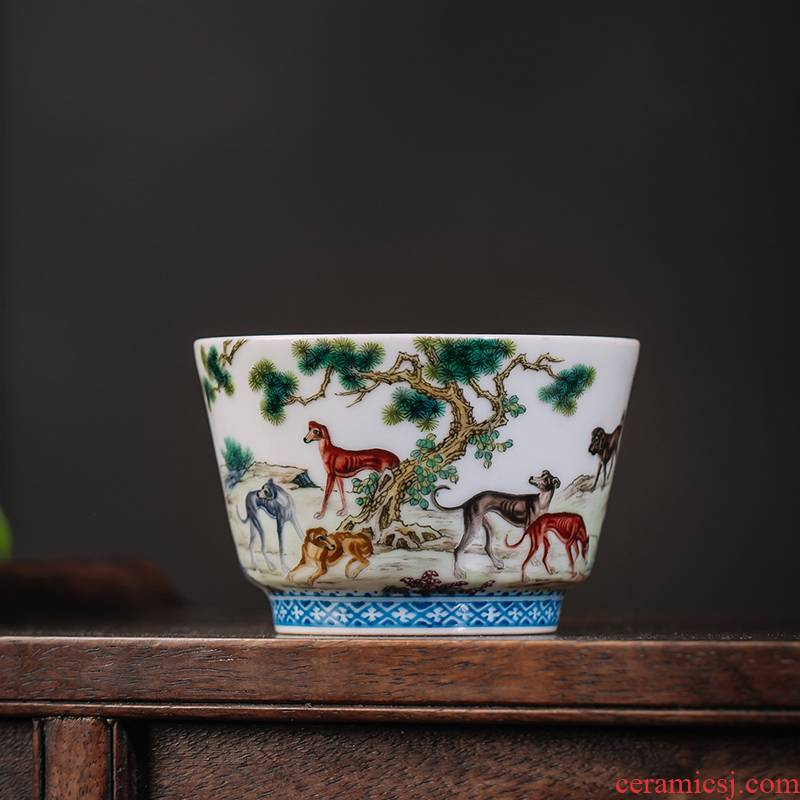 The Owl up jingdezhen tea kungfu master cup tea cup archaize pastel hand - made ten dogs figure