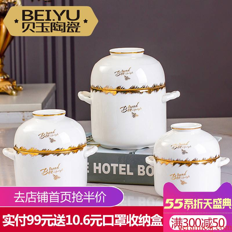 BeiYu bee ipads porcelain ceramic double cover water bird 's nest stew stew to use household with cover stew pot 1 to 2