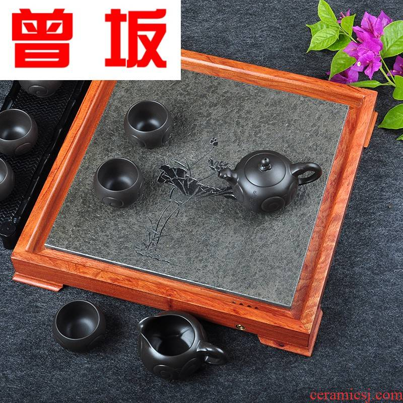 Once sitting rosewood tea tray was solid wood contracted tablet sharply stone tea saucer sifang kung fu tea set