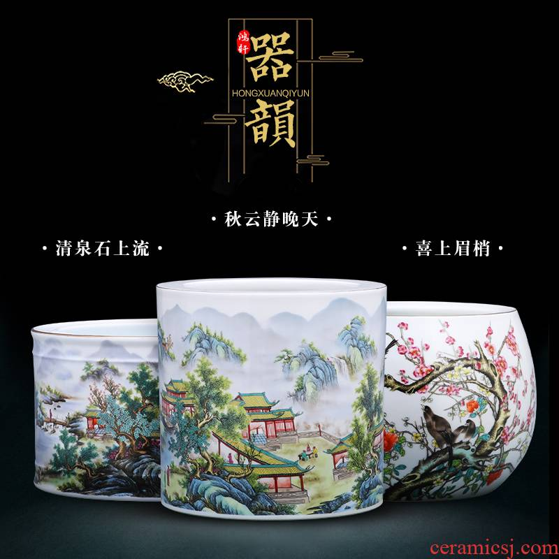 Jingdezhen ceramics vase furnishing articles calligraphy cylinder modern new Chinese style household living room TV cabinet decoration