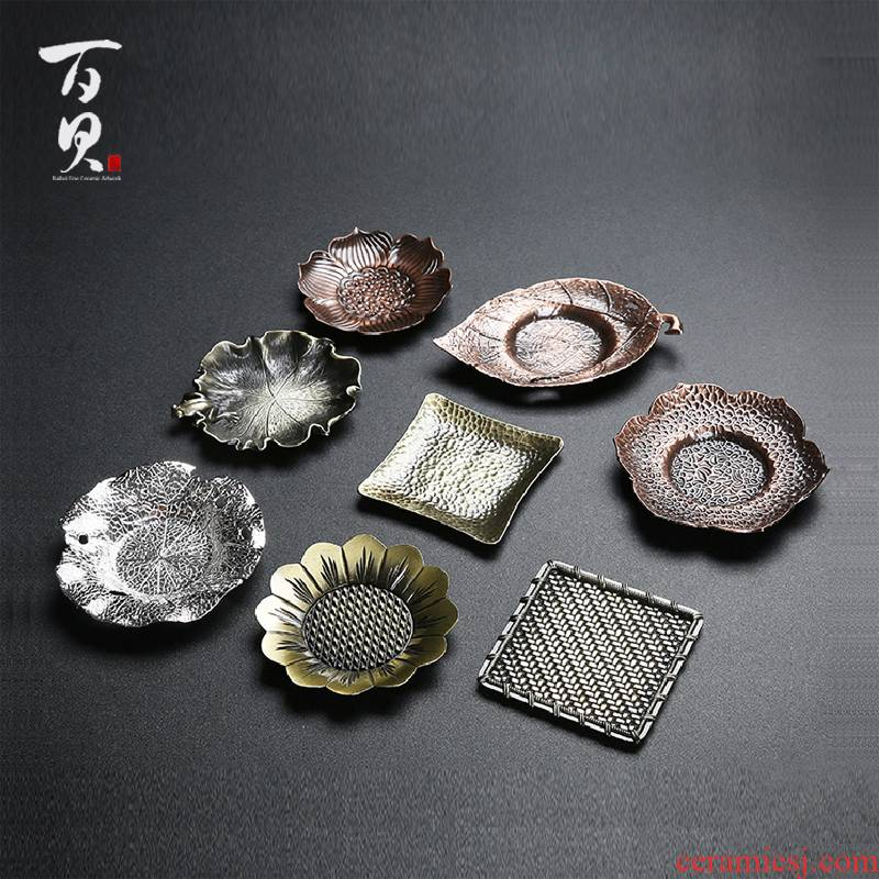 Japanese aluminum cup mat copper art saucer creative insulation pad metal cup antiskid mat kung fu tea accessories
