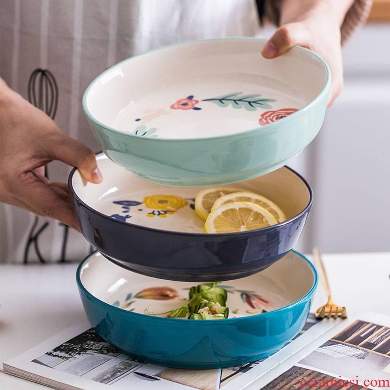 Nordic four seasons wind under glaze color porcelain tableware household dish dish dish soup bowl bowl rainbow such as bowl of fruit salad bowl