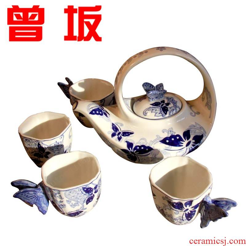 Once sitting home of kung fu tea set of jingdezhen blue and white porcelain recent four suits for