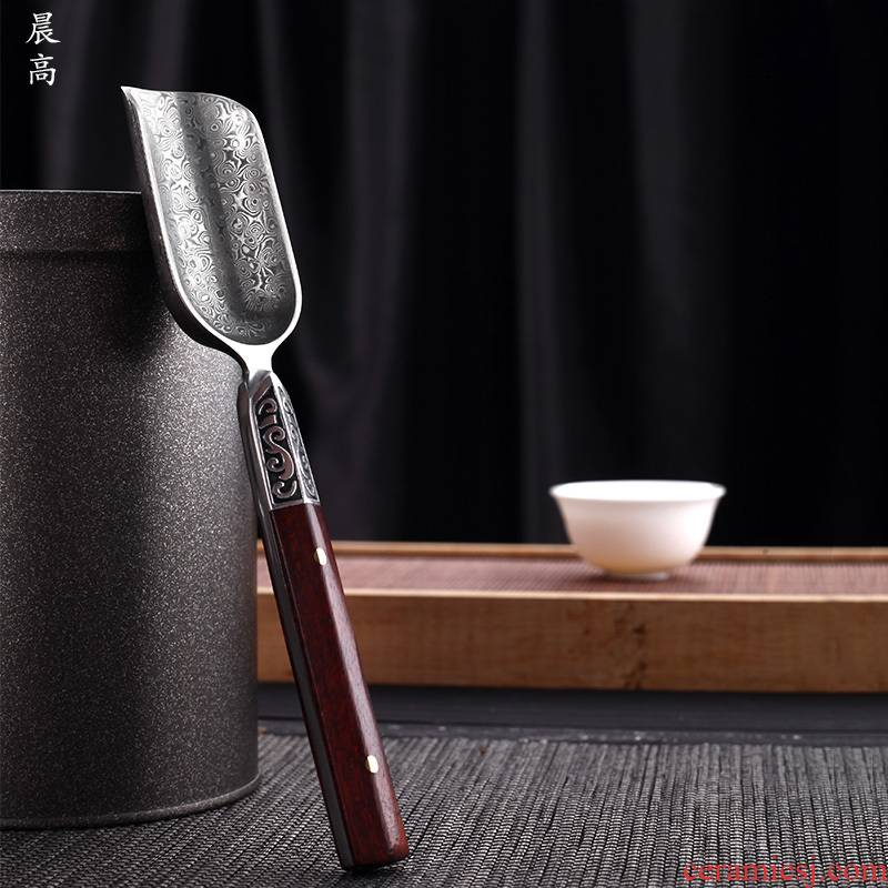 Morning high tea spoon, stainless steel shovel ebony tea spoon teaspoon of tea accessories pure copper Damascus steel