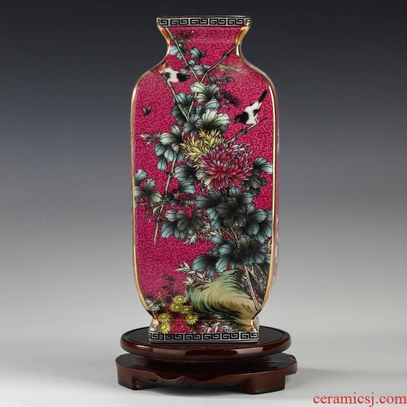 Jingdezhen square antique Chinese colored enamel big vase sitting room porch rich ancient frame furnishing articles study ceramic decoration