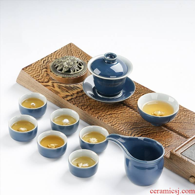 Xu ink ceramic kung fu tea set household contracted style of a complete set of the silver cup lid bowl suit suits for