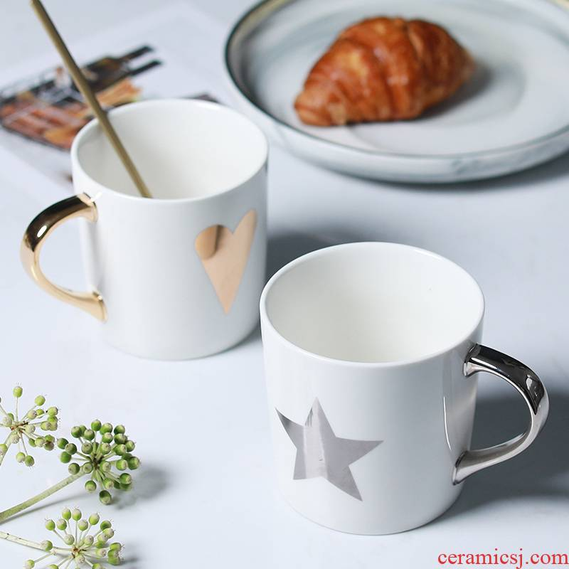 Jingdezhen Nordic gold paint ceramic keller of coffee cup cup milk for breakfast cup to send a cups
