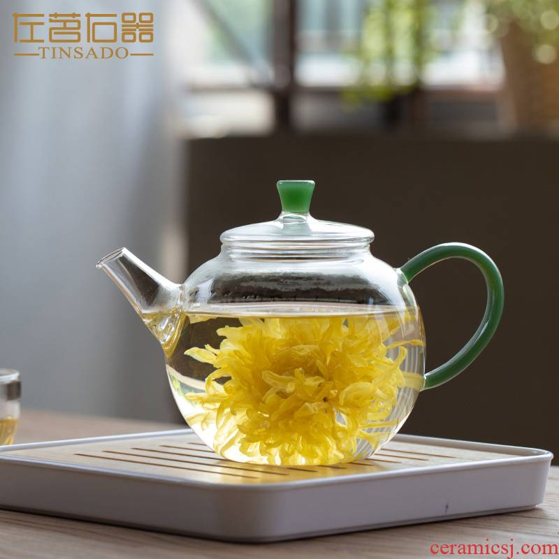 ZuoMing right device heating glass teapot single pot of large capacity to boil tea tea, flame separation single flower tea pot