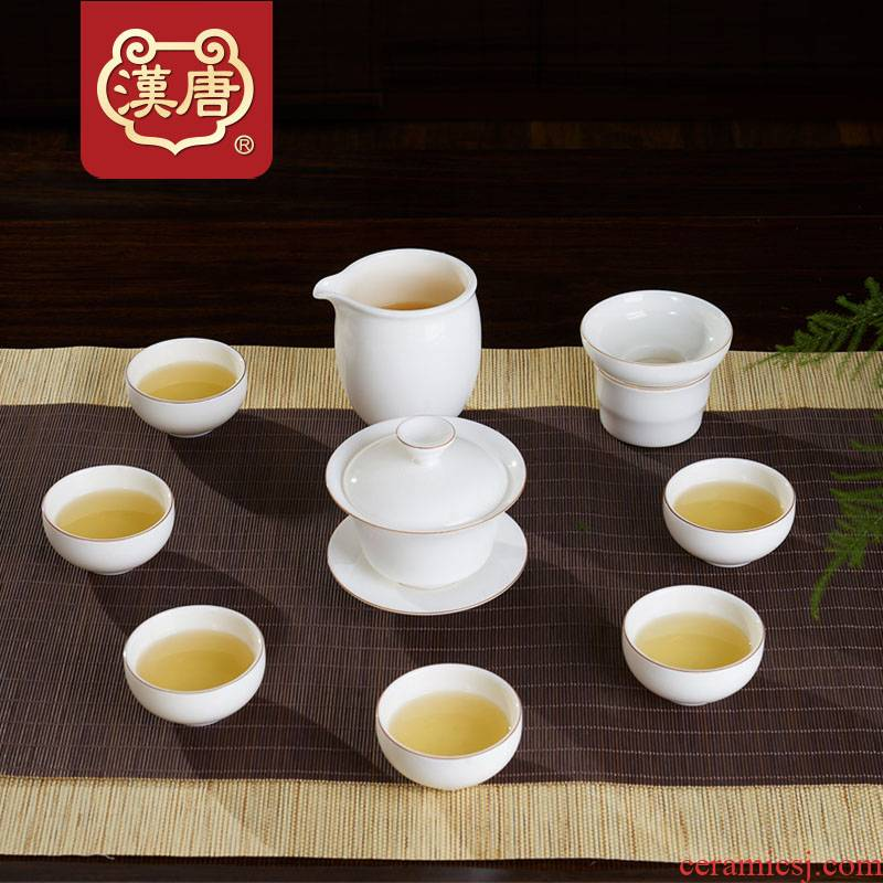 Han and tang dynasties suet jade white porcelain tea set ceramic checking household tureen kung fu tea set 10 sets of a complete set of cups