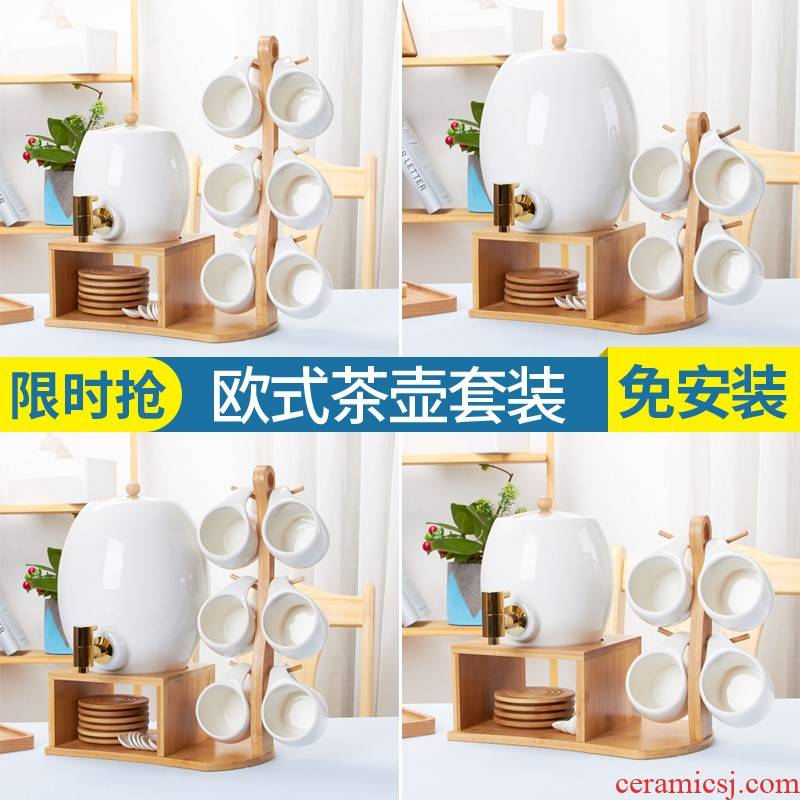 Cold water bottle suit Nordic creative home sitting room ceramic afternoon tea cup with leading Cold northern wind kettle