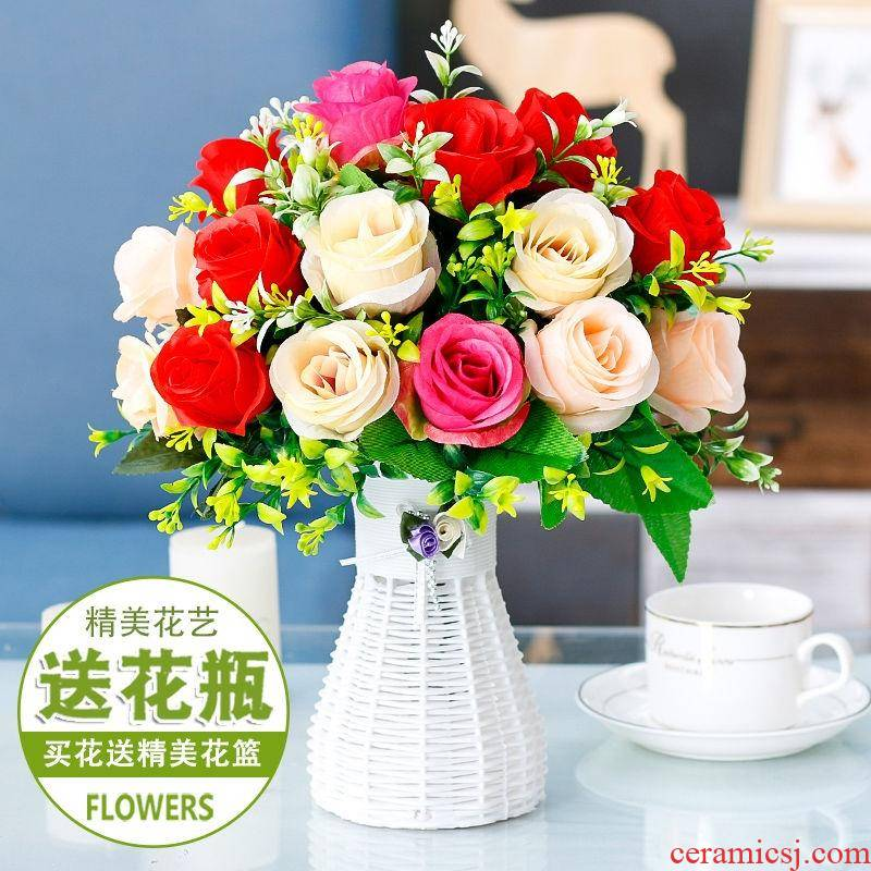 Tea table table furnishing articles silk flowers simulation flowers sitting room on the refrigerator plastic fake suit dry flowers, potted flowers