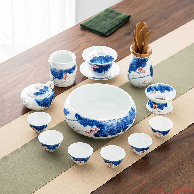 The high time Chinese kung fu tea set ceramic cups white porcelain lotus office lid bowl of tea