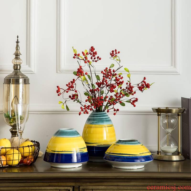 Rural ceramic yellow floret bottle artical sitting room adornment is placed simulation flower art suit dry flower arranging flowers