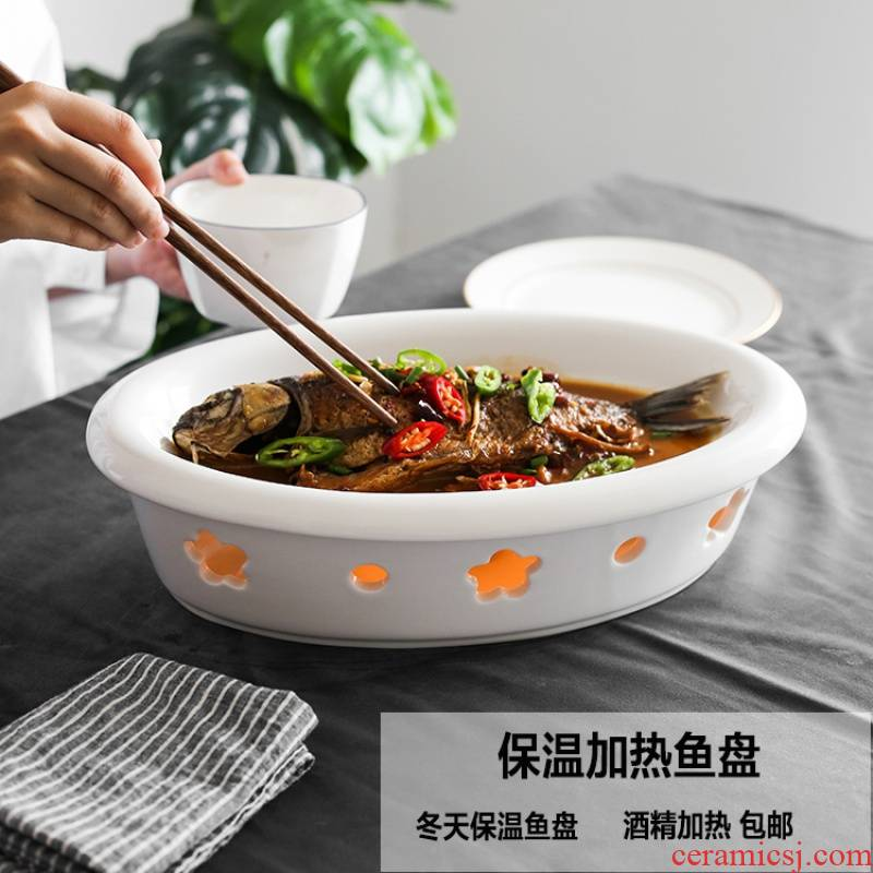 Pure white ceramic household food dish dish dish dish food dish creativity tableware suit heat insulation plate