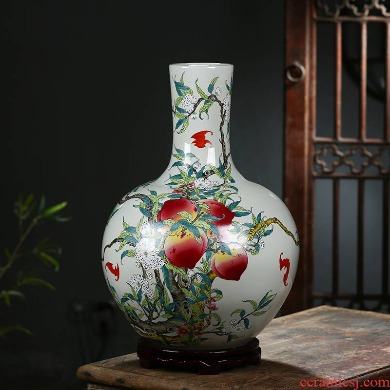 Jingdezhen ceramic antique qianlong pastel peach celestial nine large vases, Chinese style home sitting room adornment is placed