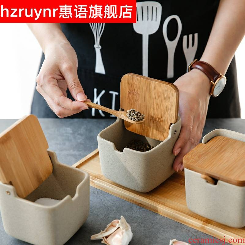 Japanese clamshell ceramic flavor pot pot containing salt, sugar, monosodium glutamate seasoning box kitchen household in combined packages