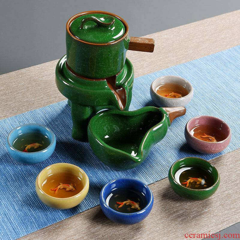 Porcelain ceramic tea set suit household kung fu of a complete set of violet arenaceous ice cracked cup tea tea set lazy fitting