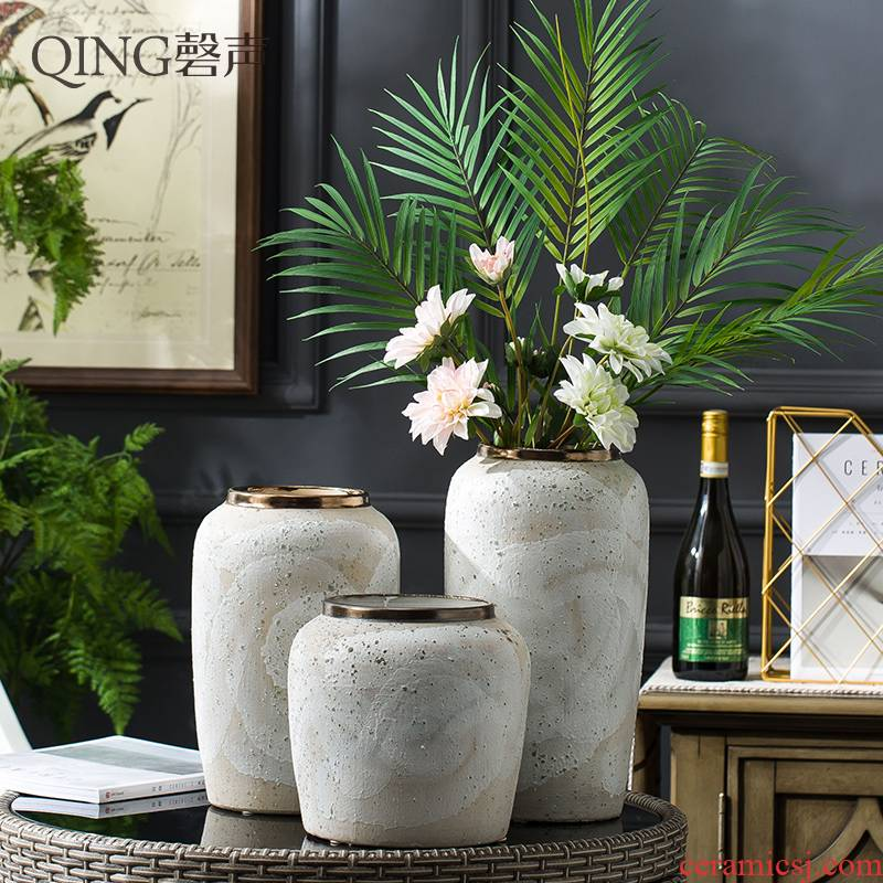 Vase furnishing articles dried flower arranging flowers sitting room decoration ceramic vases I and contracted household decorative pottery by hand