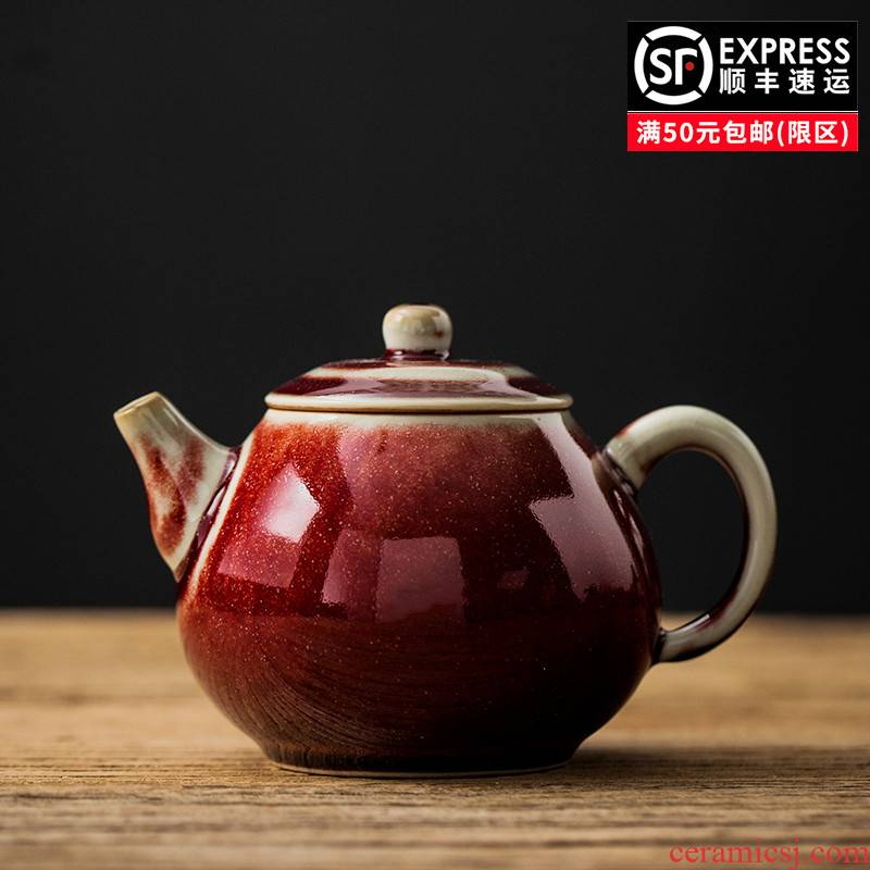 Ruby red teapot household contracted the pear - shaped dragon egg antique pot ceramic kung fu tea set personal Japanese teapot single pot